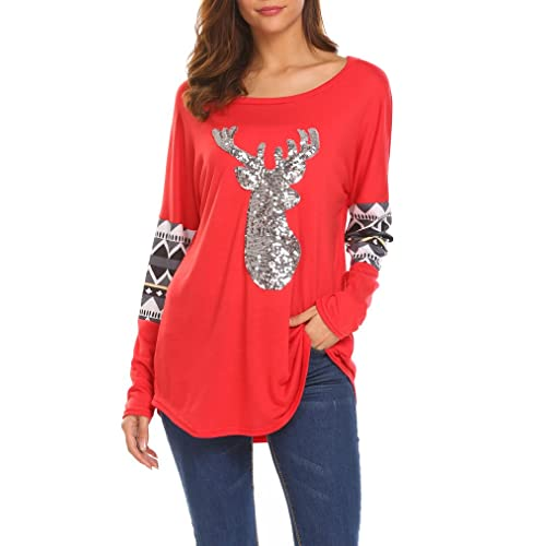 9be468878cee2 Qearal Womens Casual Long Sleeve Christmas Reindeer Sequin T Shirt Blouse  Tops