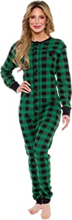 Silver Lilly Oh Deer Buffalo Flannel One Piece Pajamas - Women's Union Suit Pajamas with Drop Seat Butt Flap