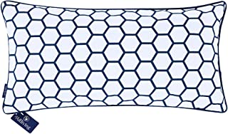 Aitliving Carra Hexagon Cushion Pillow Cover, Navy Blue Printing Poly/Cotton Twill, 12