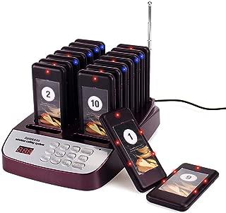 Retekess T113S Restaurant Paging System Restaurant Buzzer System 999-Channel Server Buzzers Call System 16 Rechargeable Pagers for Restaurant Buzzers