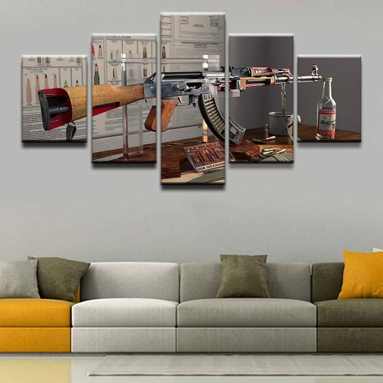 Alicefen Moderne Home Wandkunst Dekorative Rahmen HD Gedruckt Malerei Moderne Kunstwerke 5 Stücke Waffen AK-47 Poster Leinwand Bild-Frame