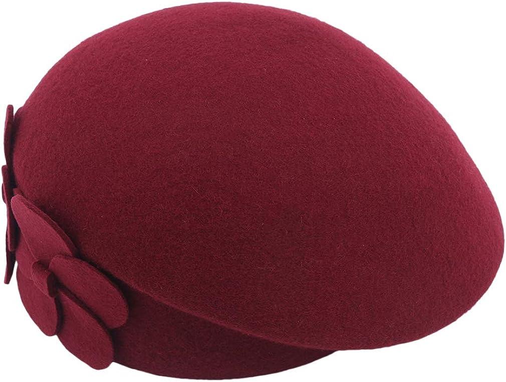 Underleaf Lady French Beret Felt Beret Floral Dress Beanie Winter Hat