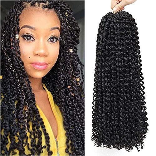 7Packs Passion Twist Cheveux 18 Pouces Vague D'eau Crochet Cheveux Passion Twist Crochet Cheveux Passion Twist Tressage Extensions de Cheveux (# 1B)