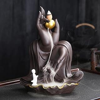 Bergamot Backflow Incense Burner,Purple sand ceramic Waterfall Backflow Incense Holder,Agarwood incense burner,Incense Roa...