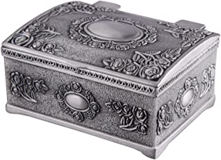 Feyarl Vintage Tiny Trinket Box Mini Treasure Chest Jewelry Box with Floral Engraved