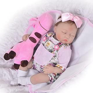 KEIUMI Sleeping 17 Inch Reborn Baby Doll Girls Looking Real Soft Silicone Babies Girl Newborn Toy with Giraffe Kids Growth Partner