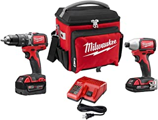 Milwaukee 2799-22CXPO Lithium-Ion Cordless Brushless Hammer Drill/Impact Combo Kit, Red