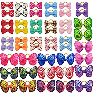 50PCS/25Colors Dog Hair Bows with Rubber Bands Butterfly Dog Knotted Bows Pet Hair Bows Ties Elastic Hair Bands for Puppy Dog Cats Hair Accessories