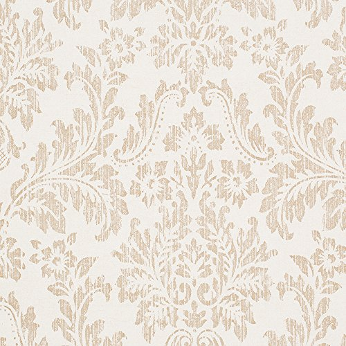 Georgia Ivory White/Tan Damask Vinyl Wallpaper For Walls - Double Roll - By Romosa Wallcoverings