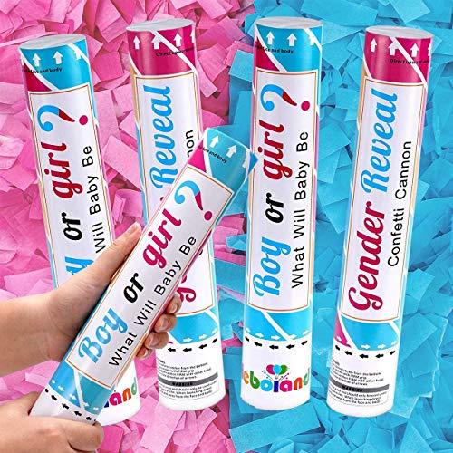 Gender Reveal Konfetti-Kanone Poppers 2 rosa und 2 blaue Jungen oder Mädchen 30,5 cm Shooter mit biologisch abbaubarem Konfetti für Baby Geschlecht Offenbarung Party Feier
