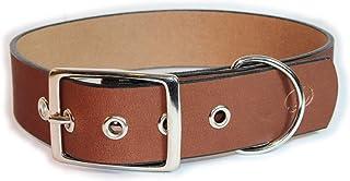 "sleepy pup Big Dog 1.5"" Leather Dog Collar (M/L: 16""-20"", Light Brown)"