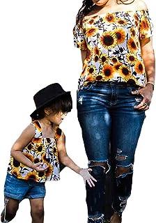 playera de hombro con estampado de girasol a juego para madre e hija