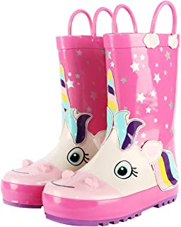 SHOFORT Kids Rain Boots Girls Boys Toddler Rainboots Rubber Rain Shoes Animal Printed,Easy-On Handles