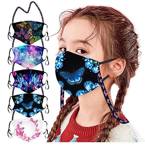 Bumplebee 5 Stück Kinder Mundschutz mit Motiv Multifunktionstuch Schmetterling Print Maske Waschbar Wiederverwendbar Stoffmaske Baumwolle Mund-Nasen Bedeckung Atmungsaktiv Halstuch Schals