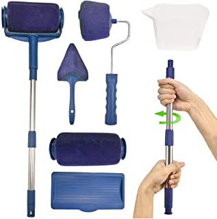 Paint Roller Brush Kit,MSDADA 7 Pcs Multifunctional Paint Roller Pro Kit with House Paint Rollers Brush(1 Replacement), New Telescopic Rod, Wall Printing Brush for Painting Walls and Ceilings(Blue)