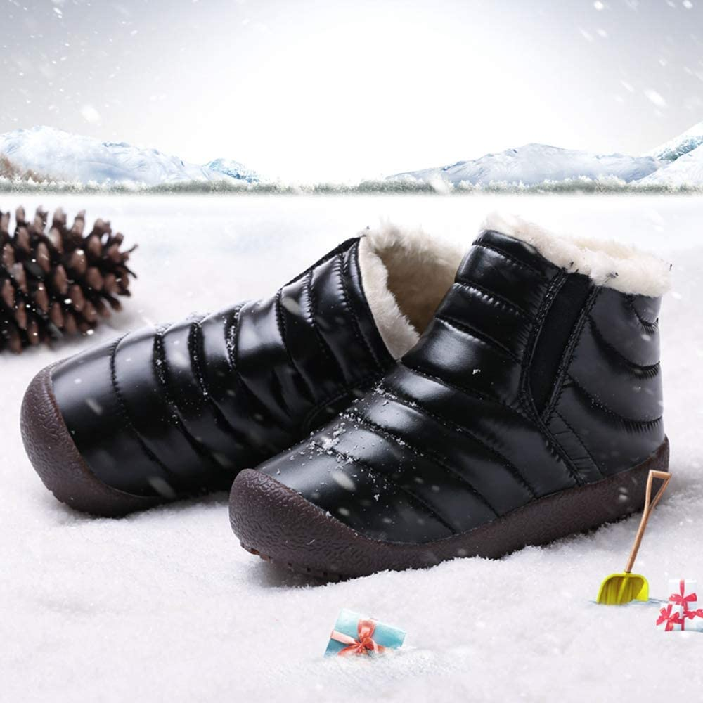 Toddler//Little Kid//Big Kid SITAILE Boy/'s Waterproof Winter Boots Kids Faux Fur Easy On Anti-Skid Snow Shoes