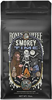 Bones Coffee Company Flavored Coffee Beans, S'morey Time Whole Bean Coffee for Cold..