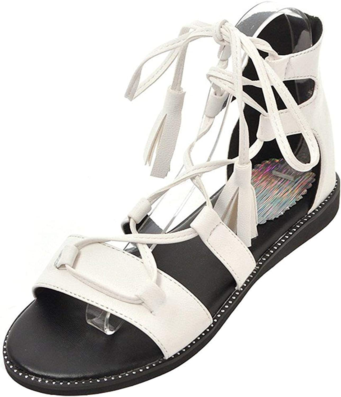 Wallhewb Women's Casual Fringes Sandals - Open Toe Solid color Cut Out - Self Tie Flats Gladiators shoes Joker Leather Comfortable Short Rubber Sole Breathable Dress Dexterous White 8 M US Sandals