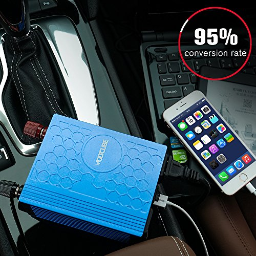VOLTCUBE 400W Power Inverter 12V DC to 110V AC Converter with 4.8A Dual USB Car Adapter with 2 Independent AC outlets (Blue)