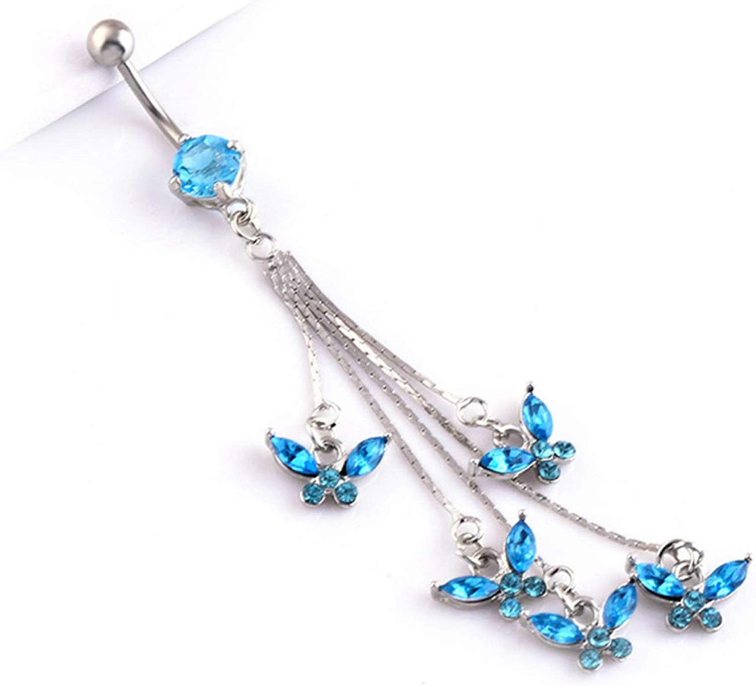 erDouckan Fashion Charming Body Piercing Jewelry for Women Men Valentine's Day Boy Girl Friend 14G 316L Surgical Steel Sexy Butterfly Rhinestone Dangle Navel Belly Button Ring