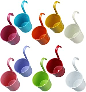 Vlovelife 10pcs Colorful Hanging Flower Pots with Drainage Hole, 4Inch Metal Hanging Plant Pot, Planter Nursery Pots, Outd...