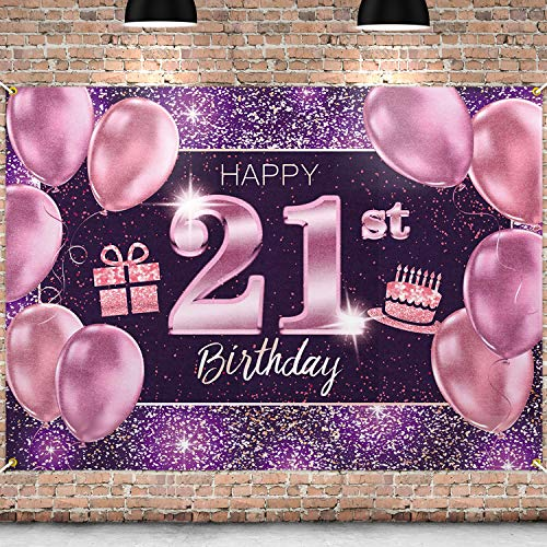 PAKBOOM Happy 21st Birthday Backdrop Pink Photo Background Banner 21 Birthday Decorations Party Supplies for Women