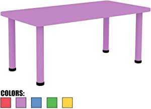"""2xhome - Purple - Kids Table - Height Adjustable 21.5"""" - 22.5"""" Rectangle Shape Child Plastic Activity Table Bright Colorful Learn Play School Home Fun Children Furniture Round Safety Corners 24""""x48"""