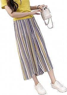 ガウチョパンツ レディース ワイドパンツ スカンツ スカーチョ ロングパンツ シフォン ボトムス ストライプ柄 春夏