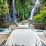 Brauch 3D Fototapete Wasserfall Landschaft Große Wandbilder Wandmalerei Wohnzimmer Sofa Schlafzimmer Hintergrund Tapeten Wohnkultur,400 * 280Cm