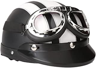 Docooler Helmet Motorcycle Scooter Open Face Half Leather with Visor UV Goggles Retro Vintage Style 54-60cm