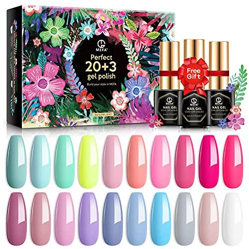 MEFA Gel Nagellack Set 20 Farben, Summer Pink Nagellack Set mit Base Gel & Matt-Glänzende Top Gel Soak Off Gel Nagellack für Nägel Starterset, Geschenkboxen