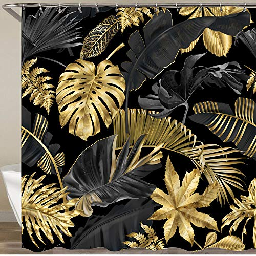 NANITHG Fabric Shower Curtains,Gold and Black Tropical Leaves On Dark Background,Bathroom Curtains Decor Waterproof Bath Curtains with Hooks,72x72