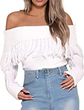 Holzkary Womens Sweaters Sexy Off Shoulder Tops Long Sleeve Solid Pullover Knitted Tassel Sweater
