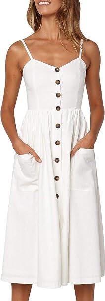 Mslure Damen Sommer Kleid Midi A Linie Trager Ruckenfrei Mit Knopfe Tasche Dress Strandkleider Sommerkleid Baumwoll Amazon De Bekleidung