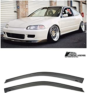 Extreme Online Store Replacement for 1992-1995 Honda Civic 2/3 Dr Coupe & Hatchback Models | EOS Visors JDM Tape-On Style Smoke Tinted Side Window Visors Rain Guard Deflectors DWV-V62