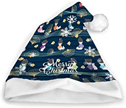 Yiyusan4 Christmas Hats Pattern Blue White Polar Bears Scandinavian Minimalist Modern Style Pattern Blue Simple