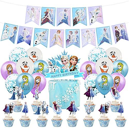 Hilloly Decorazioni di Compleanno Frozen 34Pcs Decorazioni Feste Compleanno Fiocchi Neve Kit di Forniture per Feste di Compleanno per Bambini Palloncini,Cake Toppers,Striscione