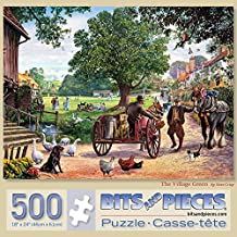 """Bits and Pieces - 500 Piece Jigsaw Puzzle for Adults 18"""" x 24"""" - The Village Green - 500 pc Horse and Buggy, Park Animals Jigsaw by Artist Steve Crisp"""