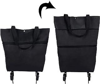 Majome Sacs de chariot pliants 2 en 1 pliables avec fermeture éclair à deux étages Sac de rangement de grande capacité ave...