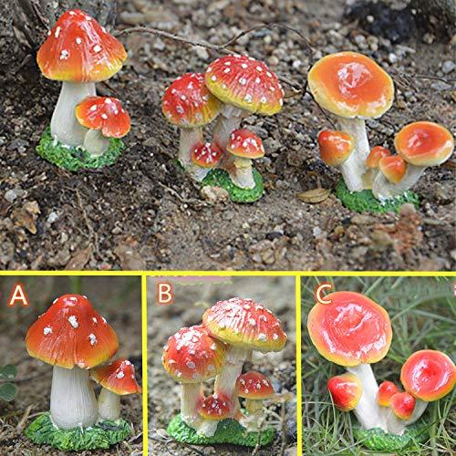 Mushroom Set for Garden,Red Toadstool Mushroom Ornaments Ideal Fairy Garden Decoration Decor