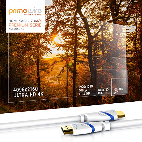 CSL - 5m HDMI Kabel 2.0a 2.0b - Ultra HD 4k 60Hz - neuester Standard - High Speed HDMI 2.0 - Ultra HD Full HD 1080p - 3D ARC CEC HDCP HDR - 3-Fach geschirmt - bis zu 18 Gbit s - weiß