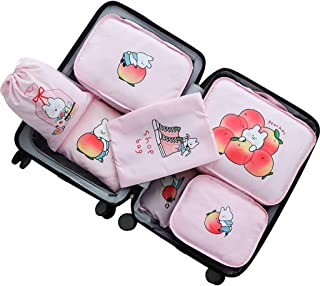 Packing Cubes Light 7 Set Travel Accessories Packing Cube Compression Traveling Essential for for Luggage Suitcase Portable Beige 4 Colors QDDSP (Color : Pink)