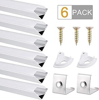 Perfil de Aluminio, DazSpirit 6 Pack 1M/3,3ft V Forma,