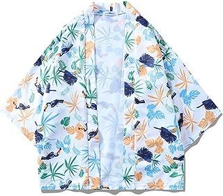 Qiyun Autumn Shirt Men Women 3/4 Sleeve Shirt Loose Beach Wear Lovers Kimono Chinese Style Outerwear