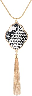 PHALIN Long Necklace for Women Leopard Quatrefoil Pendant Necklace Bohemia Fringe Tassel Necklaces Y Chain Necklace Fashion Jewelry