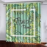 Cortinas 2 Paneles Banner Póster Hojas de Palmera Hoja de la Selva Hermoso Floral Tropical Verano Fondo Composición de Letras para Sala de Estar Decoración del Dormitorio