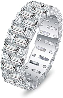 Mozume Emerald Cut Cubic Zirconia Eternity Band Engagement Ring Wedding Anniversary 925 Sterling Silver