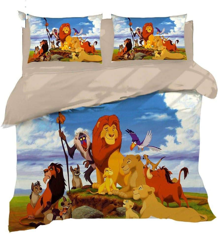 XUESDJMN 3D Printed Duvet King Cartoon Limited Special Price Daily bargain sale 104X90 Inch Animal Lion B