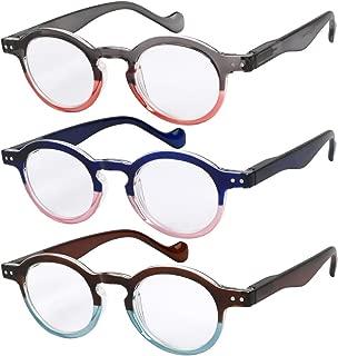 Reading Glasses 3 Pairs Fashion Springe Hinge Readers Glasses for Reading Men and Women