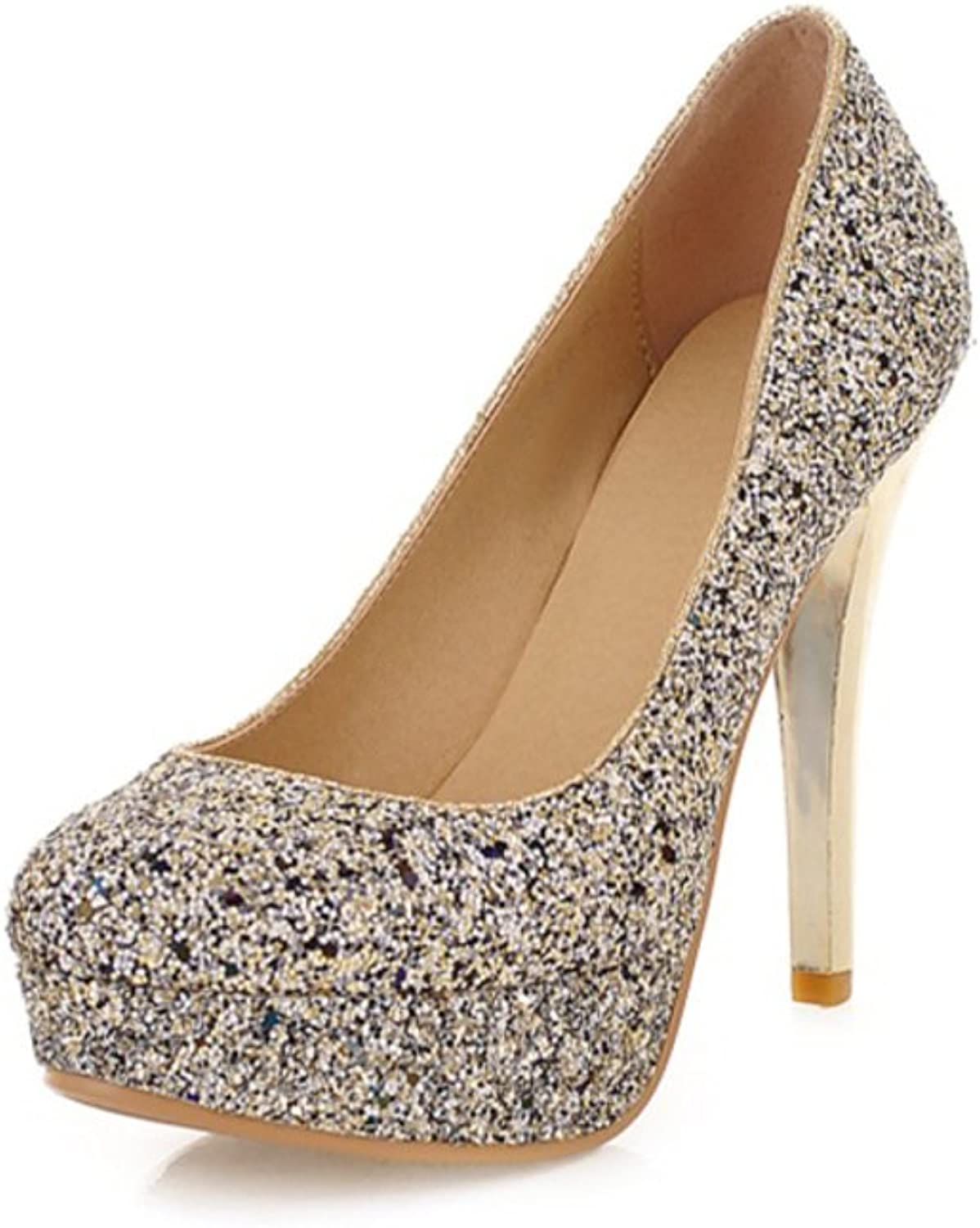 RHFDVGDS fashion shoes Ladies shoes sexy Super sequin heels night club Waterproof light shoes